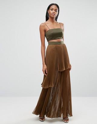 AQ AQ AQ/AQ 2 In 1 Maxi Dress With Pleated Skirt $474 thestylecure.com
