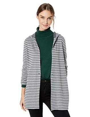 Chaus Women's L/S Double Stripe Button Front Hoodie