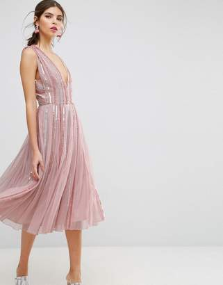 Asos Edition SALON Sequin Mesh Fit and Flare Midi Dress