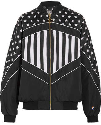 P.E Nation Wild Pitch Reversible Printed Shell Bomber Jacket - Black