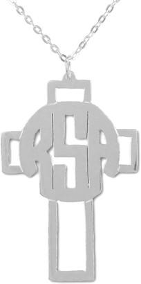 Sterling Silver Monogram Cross Pendant w/ Chain