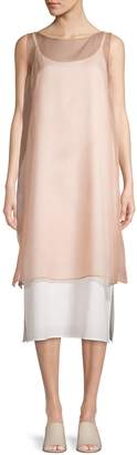 Eileen Fisher Silk Boat Neck Layering Dress