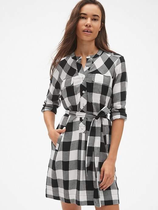 Plaid Flannel Tie-Belt Shirtdress