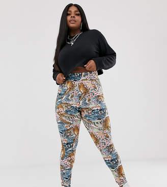 New Girl Order Curve leggings in tiger print