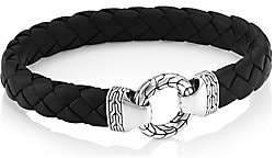 John Hardy Men's Chain Classic Ring Clasp Sterling Silver & Leather Bracelet