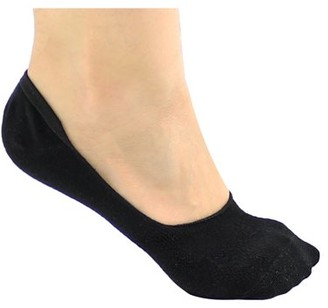 DL furniture 6 Pack Black Thin Casual No Show Socks Non Slip Flat Boat Line