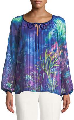 T Tahari Floral Pleated Long-Sleeve Blouse