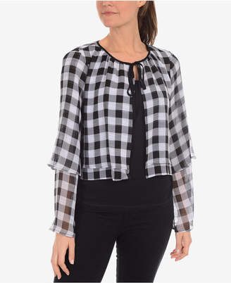 NY Collection Printed Tiered Tie-Neck Jacket