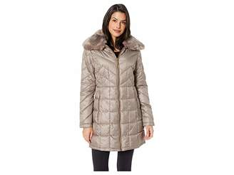 Kenneth Cole New York Zip Front Mix Quilt Puffer w/ Faux Fur Trimmed Hood Women's Coat