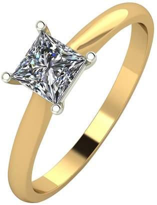 Moissanite 18ct Gold 60 Point Eq Princess Cut Ring