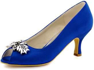 ElegantPark HP1540 Women Pumps Mid Heel Rhinestones Peep Toe Shoe-Clips Satin Evening Party Shoes US 7.5