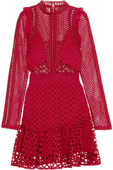 Self-Portrait - Ruffled Georgette-trimmed Guipure Lace Mini Dress - Red
