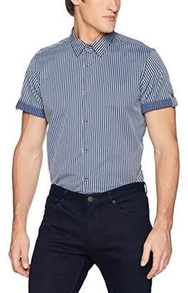 Calvin Klein Jeans Men's Short Sleeve Roll Up Button Down Shirt Stripe