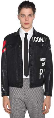 DSQUARED2 Icon Print Waxed Cotton Denim Jacket