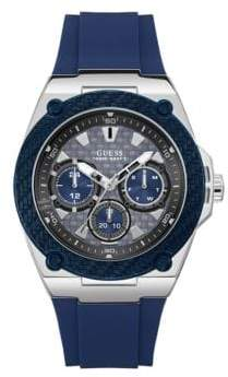 GUESS Chronograph Silvertone Case Blue Silicone Strap Watch