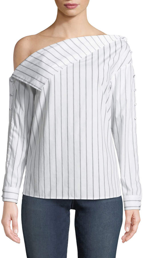 Lovers And Friends Flip-Shoulder Striped Top