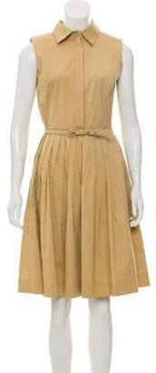 Oscar de la Renta Pleated Knee-Length Dress Tan Pleated Knee-Length Dress