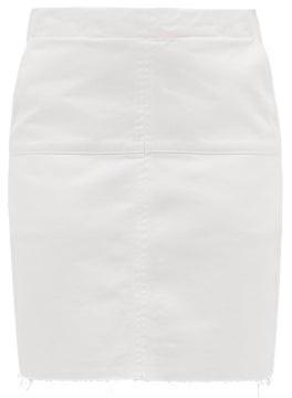 Raey Panelled Denim Mini Skirt - Womens - White