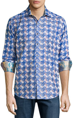 Robert Graham Making Waves Printed Button-Front Shirt, Blue $310 thestylecure.com