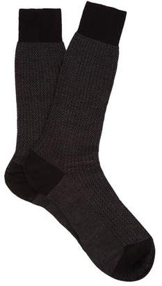 Pantherella Fabian Herringbone Cotton Blend Socks - Mens - Black Grey