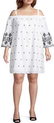 Boutique + + Short Sleeve A-Line Dress - Plus