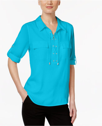 Calvin Klein Lace-Up Roll-Tab Blouse $69.50 thestylecure.com