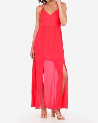 Express High Slit Halter Maxi Dress