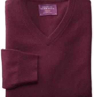 Charles Tyrwhitt Wine cashmere v-neck jumper