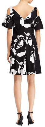 Ralph Lauren Floral Sateen Cold-Shoulder Dress