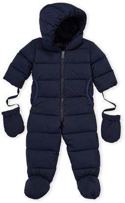 ADD Newborn Boys) Navy Hooded Down Snowsuit