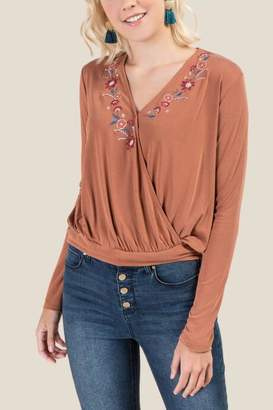 francesca's Tammy Floral Embroidered Blouse - Amber
