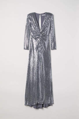 H&M Long Sequined Dress - Silver-colored - Women