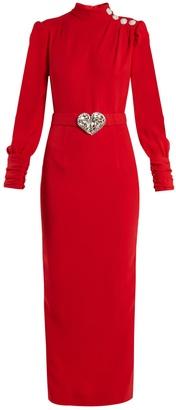 ALESSANDRA RICH Crystal-embellished high-neck cady dress