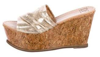 Diane von Furstenberg Metallic Leather Wedges