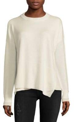 Derek Lam 10 Crosby Asymmetric Wool-Blend Crewneck Sweater