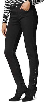 Karen Millen Button-Hem Skinny Jeans in Black