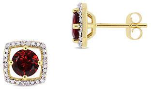 HBC CONCERTO 10K Yellow Gold and Garnet Halo Birthstone Stud Earrings with 0.07 TCW Diamond