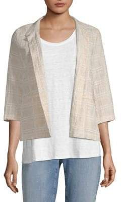 Eileen Fisher Check Open Front Blazer