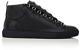 Balenciaga Men's Arena Leather Sneakers-Black