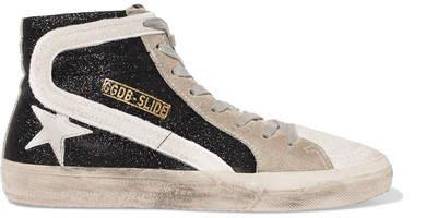Golden Goose Deluxe Brand Slide Glittered Distressed Suede High-top Sneakers