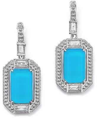 Judith Ripka Sterling Silver Doublet Baguette Drop Earrings with Rock Crystal