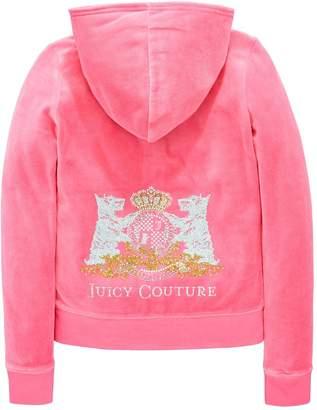Juicy Couture Girls Velour Scottie Crest Hooded Jacket