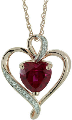 FINE JEWELRY Lab-Created Ruby & White Sapphire Heart Pendant Gold Over Sterling Necklace
