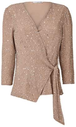 Hasanova Champagne All Over Sequin Wrap Blouse