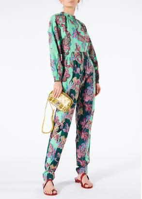 Tibi Paisley On Cotton Pull On Pants With Piping Detail