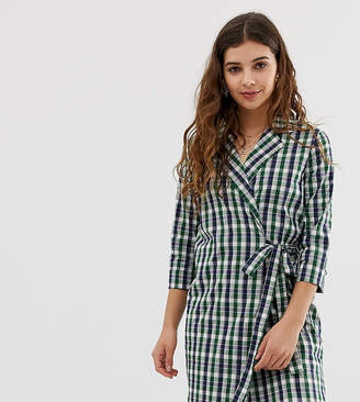 Glamorous wrap front shirt dress in bright check