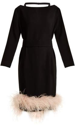 Prada - Feather Embellished Crepe Dress - Womens - Black Pink