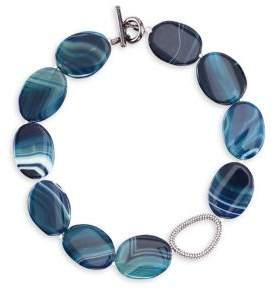 Nina Dark Blue Agate & White Swarovski Crystal Collar Necklace
