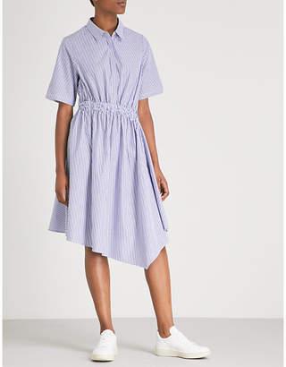 Izzue Striped asymmetric cotton midi dress