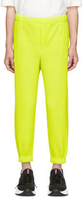 Issey Miyake Homme Plisse Yellow Tapered Pleat Trousers